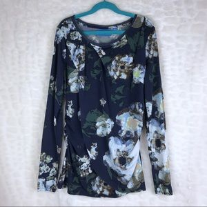 Simply Vera Wang Blue White Floral Stretch Top XS